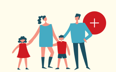 Illustrasjon av familie – to voksne og to barn