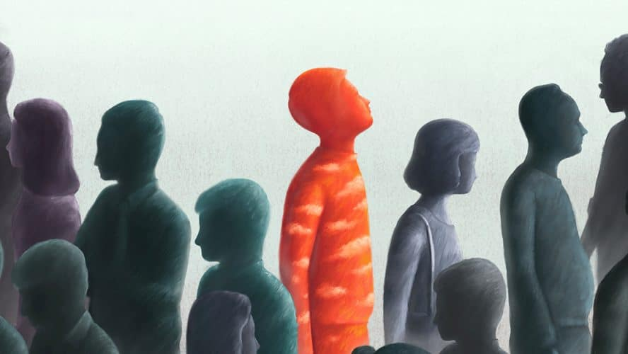 Illustrasjon av gruppe med mennesker hvor én person er uthevet i rødt.