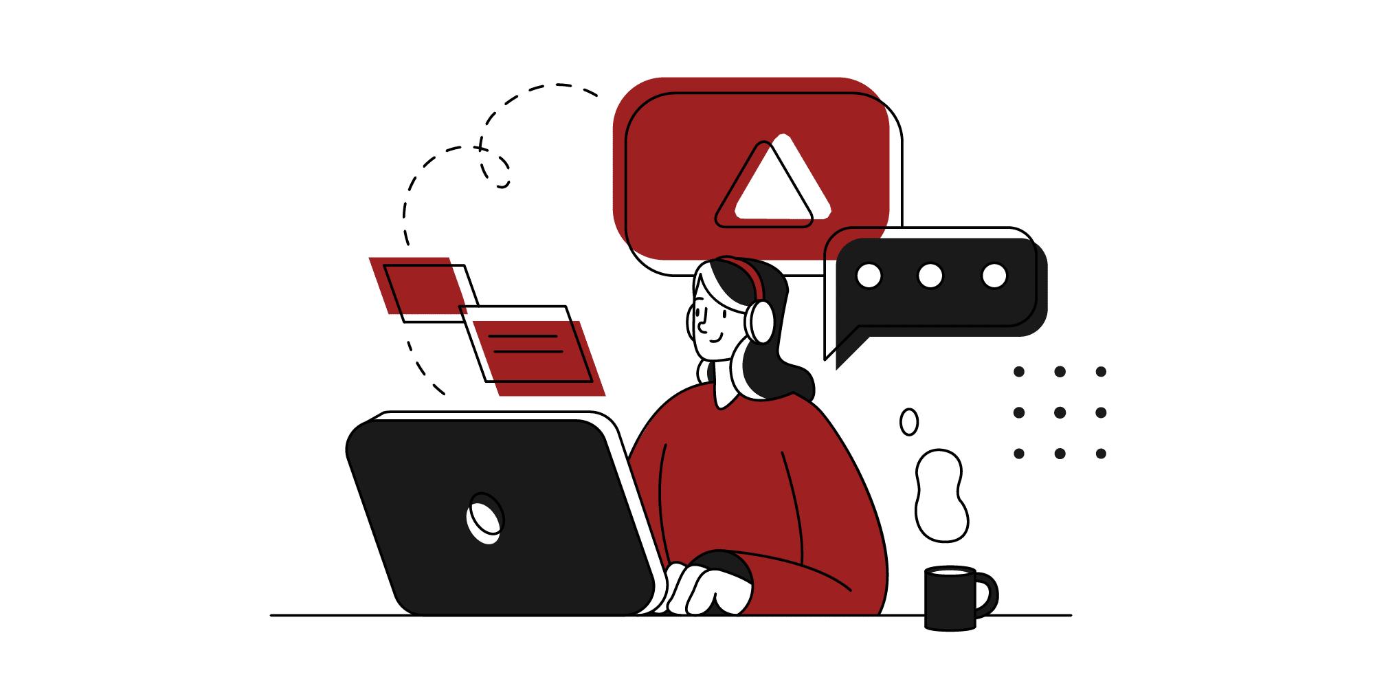 Illustrasjon av dame foran laptop